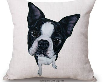 """Black and White Dog Cushion Cover with Cushion Insert Included- 18"""" by 18"""" -"""