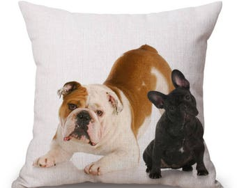 """Bulldog Cushion Cover with Cushion Insert Included- 18"""" by 18"""" -"""