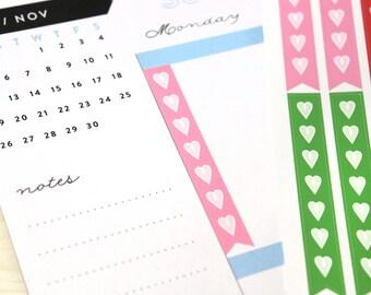 Happy Planner Checklist Stickers, 30 banner check list heart stickers, fits Happy Planner Classic or Big, rainbow colors