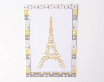 Birthday card, Greetings card, Hand-stitched greetings card, Hand-stitched birthday card, Eiffel Tower card, Eiffel Tower, Paris