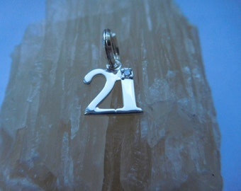 Sterling Silver 21st Birthday Charm, Coming of Age Charm, Number Charm with gem, Planner Charm, Zip Pull, Key Ring Charm