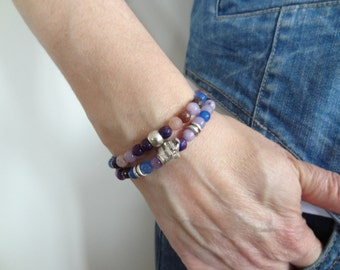 EXPRESS SHIPPING,Purple,Lilac Agate Bracelet,Elephant Bracelet,Stone Jewelry,Women Jewelry,2Pieces Bracelet,Friendship Bracelet,Gift for Her