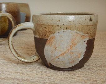 Handmade Ceramic Mug - Dark Unglazed Clay with Speckled White Leaf Design