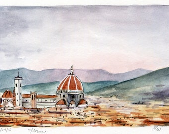 "4""x6"" Original Watercolor Painting - Florence Italy"
