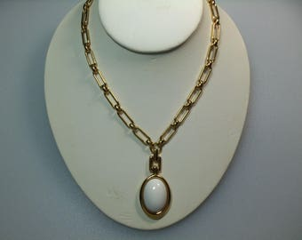 VIntage Gold Tone Link Necklace with White Cabochon Pendant Designer Signed Monet