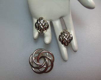 Polished Silver Tone Pin Brooch and Pierced Earrings Designer Signed Napier