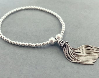 Sterling Silver Small Bead Stackable Tassel Bracelet