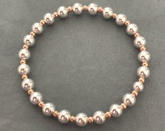 Sterling Silver & Rose Gold Stacking Charm Bracelet