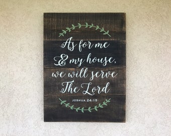 As For Me And My House Sign, We Will Serve The Lord Sign, Joshua 24:15 Wood Sign, Religious Pallet Sign, Bible Verse Pallet Art, Farmhouse