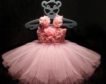 Flower Girl Pink Dress Tulle Dress First Birhtday Outfit Girls Birthday Tutu Girl Dress Wedding Toddler Ball Gown Tutu Dress 1 2 3 4T/ 5 6
