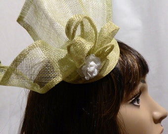 Fascinator, Hat, Lime green, beige flower,  Lovely for Wedding, Ascot, Christening,Special occasion,