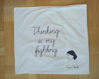 Feminist pillowcase Virginia Woolf portrait and quote, hand painted