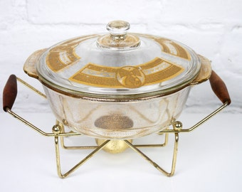 Georges Briard Fire King Pear Casserole dish with Warming Stand