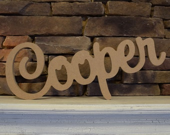 Personalized Wooden Name Sign for Nursery, Children's or Baby's Wall - Unfinished and Unpainted Wood