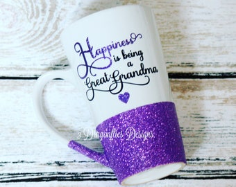 Happiness Is Being A Great Grandma, Custom Grandma Cup, Sparkle Water Cup, Glitter Acrylic Tumbler, Glitter Coffee Cup, Mothers Day