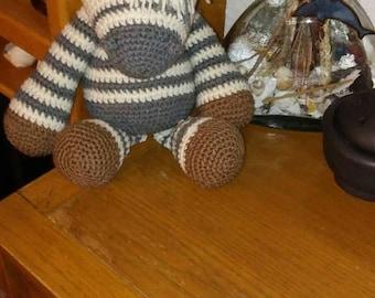 Soft and cuddly hand crocheted Zebra.