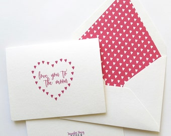 Love You to the Moon Hearts Card - Single Card or Set of Cards - Red Hearts