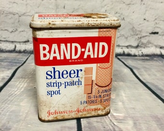 Vintage Band-Aid Steel Container. Johnson & Johnson FREE SHIPPING