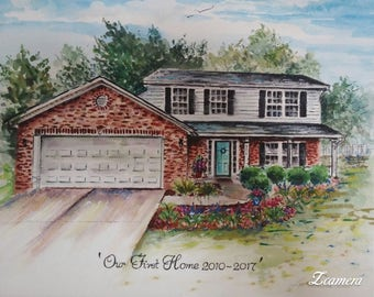 Commissioned House Portrait, Watercolor House Portrait, Wall Decor, Wall Hanging