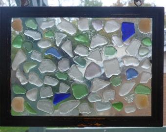 Authentic Beach Glass Sun Catcher/Mosaic Picture - Cottage Chic Art