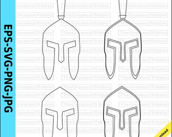 Spartan cricut etsy spartan helmet front eps svg png jpg vector graphic clip art outline pronofoot35fo Choice Image