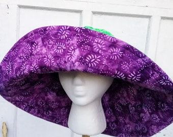 Wide Brimmed Purple and Green Batik Women's Sunhat