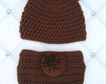 Newborn baby bear outfit, newborn bear hat and diaper cover, crochet baby outfit, newborn teddy bear outfit
