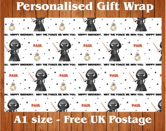 "Personalised Birthday Wrapping Paper inspired by Star Wars ""Kylo"" & 2 tags"