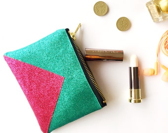 Pink and turquoise contrast panel glitter purse. Sparkly wallet.