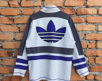 Vintage ADIDAS biglogo and spellout multicolour turtle neck jumper sweatshirt