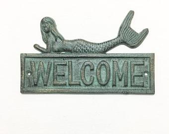 Cast Iron Aqua and Bronze Mermaid Welcome Sign- Nautical, Coastal decor, Aqua, Bronze, Vintage Patina,