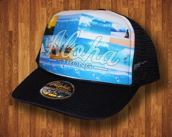 Aloha Strong Hat Hawaiian Beach Montage Trucker Hat MADE IN HAWAII