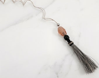 Beaded Horsehair Tassel Necklace - Gray with Silver, Amber & Black