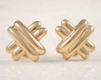"14K Yellow Gold ""X"" Clip Earrings"