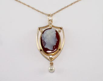 Victorian 14K Yellow Gold Antique Cameo Pendant