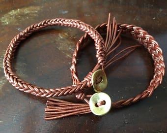 Leather braided bracelets