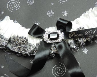 Black and white prom garter,  Lace prom garter,  Black lace prom garter,  Prom garters,
