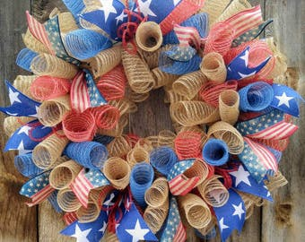 Rustic patriotic wreath, patriotic spiral deco mesh wreath, Americans wreath, 4th of July wreath, burlap 4th of July wreath, patriotic door