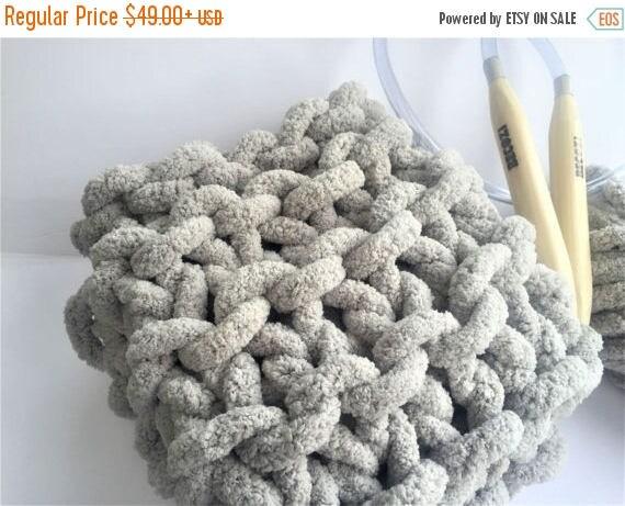 Knitting Chunky Yarn On Small Needles : Diy knitting kit baby blanket super chunky chennile yarn