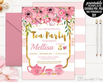 Tea Party Birthday Invitation Template. Printable Girl Birthday Invitation. Watercolor Floral Birthday Invitation. DIY PDF Editable Download