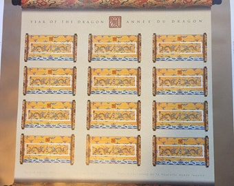 2000 Year of the Dragon Uncut Press Sheet -Canada -