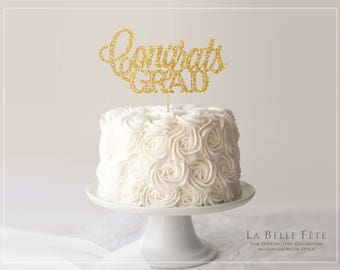CONGRATS GRAD glitter cake topper in gold or silver