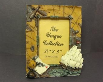 Nautical Picture Photo Frame, Ship, Globe, Coastal Decor, Gift for Dad, Grandpa, 3.5 X 5