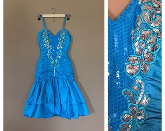 80s Prom Dress / 80s Party Dress / Prom Dress / 90s Prom Dress / Blue Prom Dress / Sequin Prom Dress / Size 6 Prom Dress / Short Prom Dress