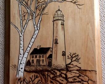 Lighthouse Woodburning Lighthouse Pyrography Lighthouse with Birch Tree Woodburning Woodburned Art Woodburned Plaque Woodburning Painted