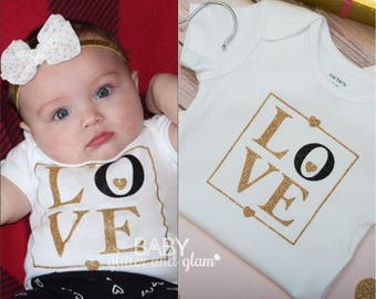 Baby Girl Shirt, Newborn Gift, Baby Shower Gift, Personalized Baby Girl Shirt, LOVE Gold Glitter, Sparkly Clothes