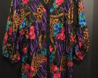 Vintage Diane Freis Floral Leopard Embossed Silk Tunic Blouse Top 1 X 18