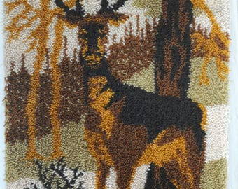 Rya Rug Vintage crafts. Modernist Decorative rya wall hanging with Deer. Scandinavian midcentury modern Rya