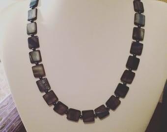 Blue Shell & Swarovski Pearl Necklace