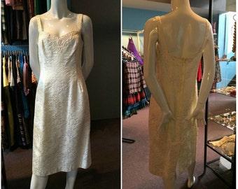 Vintage 1980s Ivory Brocade Nu-Mode Midi Dress Size 11/12